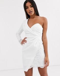 Платье-пиджак мини с кружевной вставкой ASOS DESIGN-Белый