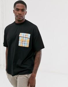 Длинная oversize-футболка из плотного трикотажа с контрастным карманом в клетку ASOS DESIGN-Черный