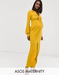 Фактурное платье макси с декоративным узлом и драпировкой ASOS DESIGN Maternity-Желтый