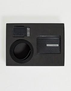 Подарочный набор из ремня и кредитницы Calvin Klein-Черный