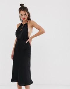 Атласное платье миди с халтером Musier Dahlia-Черный