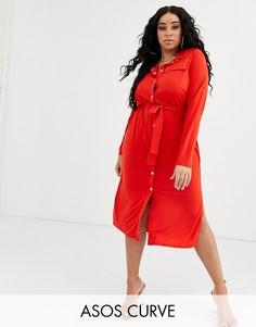Платье-рубашка миди с поясом ASOS DESIGN Curve-Красный