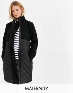 Черное стеганое пальто со съемной вставкой Mamalicious maternity-Черный Mama.Licious