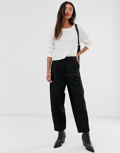 Укороченные брюки Selected Femme-Черный