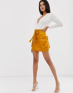 Атласная мини-юбка в стиле милитари ASOS DESIGN-Желтый