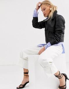 Кожаная куртка с заклепками Selected Femme-Черный