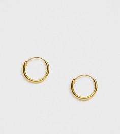 Позолоченные серебряные маленькие серьги-кольца DesignB-Золотой