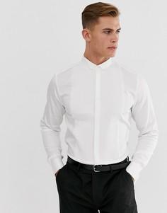Приталенная атласная рубашка с плиссировкой спереди и воротником-стойкой со скошенными концами ASOS DESIGN BEIGHTON-Белый