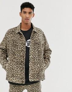 Джинсовая oversize-куртка с гепардовым принтом Cheap Monday-Светло-бежевый