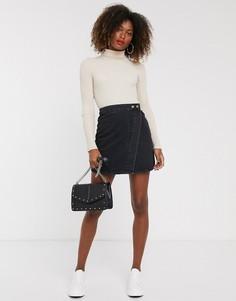 Черная джинсовая юбка с запахом ASOS DESIGN-Черный