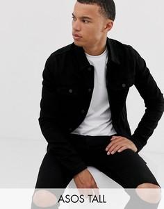 Черная приталенная джинсовая куртка в стиле вестерн ASOS DESIGN Tall-Черный