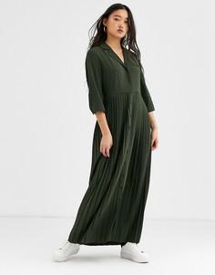 Платье макси с плиссировкой Selected Femme-Серый