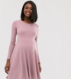 Приталенное платье миди с длинными рукавами Blume Maternity-Фиолетовый
