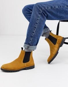 Ботинки челси песочного цвета на массивной подошве Selected Homme-Коричневый