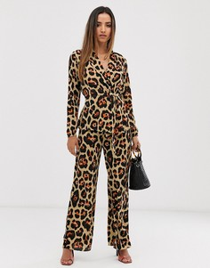 Расклешенные брюки из комплекта AX Paris-Коричневый