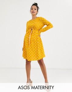 Платье мини в горошек для кормящих мам с запахом и длинными рукавами ASOS DESIGN Maternity-Мульти