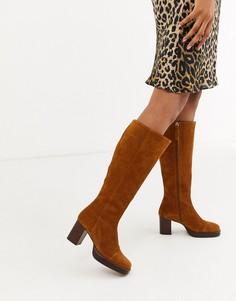 Высокие замшевые сапоги на платформе ASOS DESIGN Camille premium-Светло-коричневый