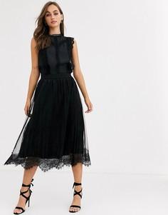 Черная плиссированная сетчатая юбка миди Pieces-Черный