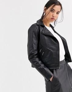 Кожаная байкерская куртка Muubaa-Черный