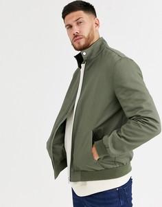 Куртка Харрингтон цвета хаки с воротником-трубой ASOS DESIGN-Зеленый