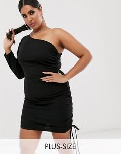 Черное платье мини на одно плечо с длинными рукавами и сборками сбоку Fashionkilla Plus-Черный