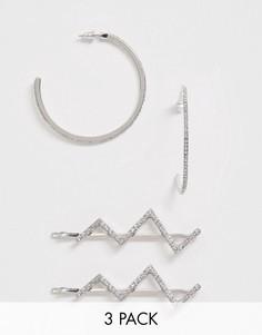 Серебристые серьги-кольца и заколки для волос с зигзагообразной отделкой и кристаллами ASOS DESIGN-Серебряный