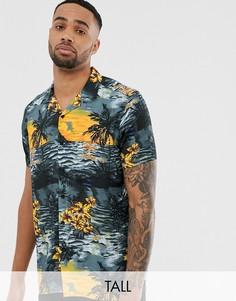 Рубашка с отложным воротником и тропическим принтом Jacamo-Черный