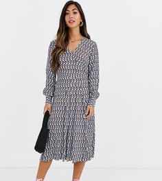 Платье макси с V-образным вырезом и геометрическим принтом Y.A.S Petite-Белый