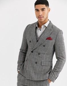 Приталенный пиджак в клетку с добавлением шерсти Gianni Feraud-Мульти