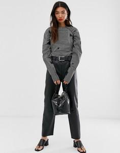 Кожаные брюки прямого кроя с завышенной талией Selected Femme-Черный
