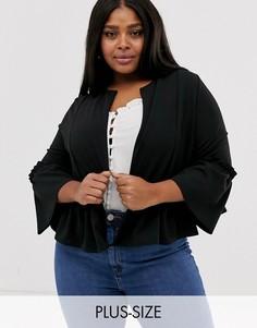 Черная куртка с оборками New Look Curves-Черный