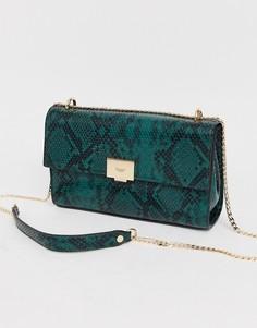 Зеленая сумка на плечо со змеиным рисунком и цепочкой Dune-Зеленый