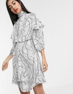 Платье с принтом и оборками ASOS WHITE-Белый