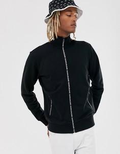 Черная спортивная куртка с молнией и карманами Calvin Klein Jeans-Черный