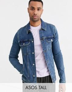 Выбеленная джинсовая куртка в стиле вестерн ASOS DESIGN Tall-Синий