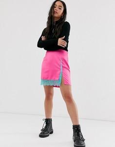 Неоновая атласная мини-юбка с кружевной отделкой ASOS DESIGN-Розовый