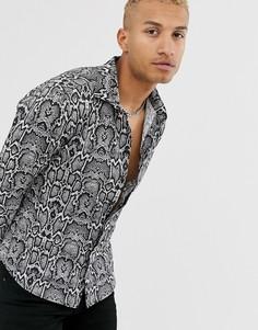 Рубашка с длинными рукавами и змеиным принтом Bolongaro Trevor-Черный