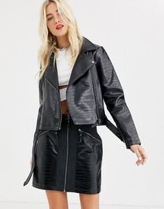 Черная байкерская куртка из искусственной кожи Noisy May-Черный