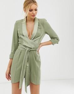 Платье-смокинг мини с завязывающимся поясом ASOS DESIGN-Зеленый