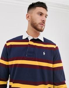 Темно-синее поло в стиле регби в полоску с логотипом Polo Ralph Lauren-Темно-синий