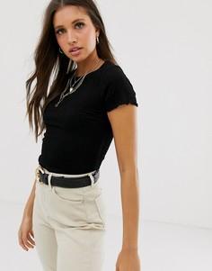Черная укороченная футболка со сборками New Look-Черный