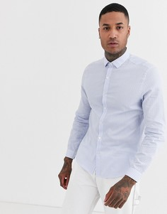 Строгая рубашка в синюю и белую полоску Topman-Синий