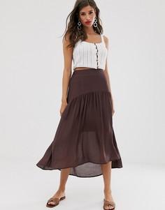 Атласная юбка асимметричной длины Vila-Мульти