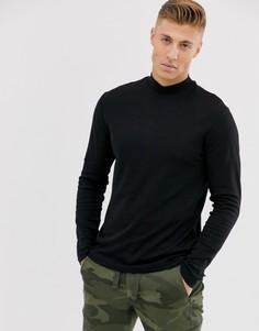 Черная футболка с длинным рукавом и высоким воротом New Look-Черный