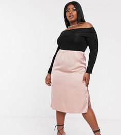 Розовая атласная юбка миди эксклюзивно от Missguided Plus-Розовый