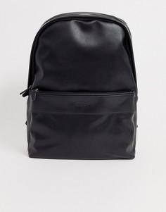 Черный рюкзак из искусственной сафьяновой кожи с тисненым логотипом ASOS DESIGN