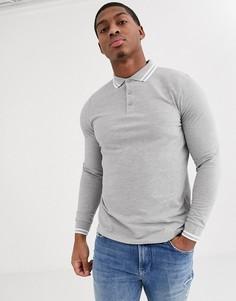 Серая футболка-поло из пике с длинными рукавами и контрастной отделкой ASOS DESIGN-Серый