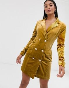 Бархатное платье-блейзер Missguided-Золотой