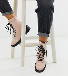 Розовые ботинки для широкой стопы на шнуровке с рисунком крокодиловой кожи ASOS DESIGN-Розовый