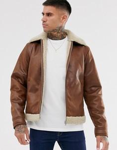 Светло-коричневая куртка-авиатор из искусственной кожи и меха Jack & Jones Originals-Светло-коричневый